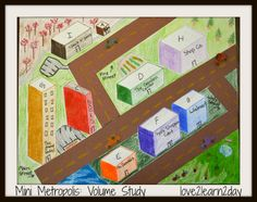 End of year VOLUME project! Explore Volume with Mini Block Cities - students apply knowledge of volume as they draw buildings and make their own mini cities. My students loved this. 5th Grade Activities, Teaching 5th Grade, Fifth Grade Math, Teaching Math, Teaching Geometry, Teaching Ideas, Math Lab, Math Measurement, Math Projects