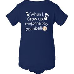 Future baseball player Infant Creepers has handprints and ball with When I  Grow Up I'