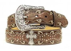 Womens Ariat Belt: Womens Ariat Western Belt. Ride on, cowgirl, This women's Ariat belt from M&F Western is made from rich full grain leather. Featuring a scalloped inlay with large cross conchos and