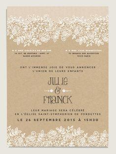 Faire-part mariage simple et chic - . Kraft Paper Wedding, Wedding Menu, Chic Wedding, Wedding Tips, Wedding Bride, Wedding Cards, Dream Wedding, Wedding Invitations, Wedding Planer