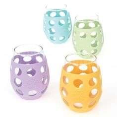 Lifefactory Small Glasses with Silicone Sleeve (4 Pack Multicolor) $49.00