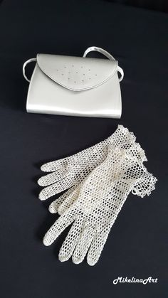 Bridal Crochet Gloves Light Ivory 100% Silk by MikelinaArt on Etsy