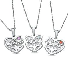 <3 need to get this for my sister and mom!!! Daughters and Mom Three Hearts Pendants in Sterling Silver (3 Stones) - Zales