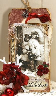vintage photos with lots of Christmasy embellishments
