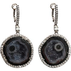 Kimberley McDonald 18K White Gold Geode and Diamond Drop Earrings ($12,210) ❤ liked on Polyvore