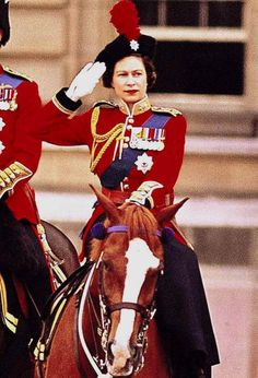 Queen Elizabeth II, in full regalia at the Horse Guards Parade, remains a keen horsewoman.