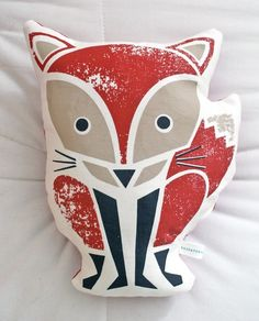 Cute Screen Print Fox Pillow