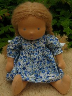 "Waldorf Doll 14"", Pale blond, Blue eyes, Viola (made to order)"