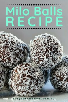 Milo Balls are a great lunch box treat for the kids - or a naughty party food for the grown ups. They are really easy to make and can be frozen so you can make them in advance! Lunch Box Recipes, Dessert Recipes, Party Lunch Boxes, Finger Foods For Kids, Biscuit Recipe, Milo Recipe, Condensed Milk Recipes, Bliss Balls, Balls Recipe