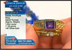 David Yurman signed estate yellow gold ring with amethyst.