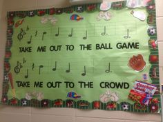 Take Me Out to the Ball Game bulletin board Elementary Bulletin Boards, Teacher Bulletin Boards, Sports Theme Classroom, Music Classroom, Classroom Decor, Music Lesson Plans, Music Lessons, Music Theme Birthday, School Themes