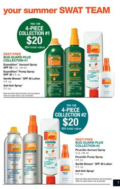 DON'T LET THE BUGS BITE! 4-piece Collections for only $20! ($54 Value!) Enjoy your summer while protecting your whole family from sun burns, mosquitoes, ticks, and other pesky bugs. Contact me or order directly from my Avon website: www.youravon.com/lauracarlisle