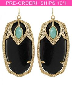 kendra scott darby earrings. Turquoise and Onyx..so perfect.