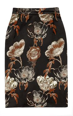 Chocolate brown and white, black floral skirt.
