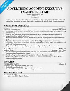 advertising account executive resume samples - Advertising Resume