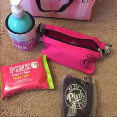New VS spring break essentials New Victoria's Secret PINK Spring break essentials. Pink Fanny pack plus black loozie + limited edition fresh and clean all over refreshing wipes + fresh glow lotion + koozie No trades/holds. Only sold TOGETHER. ️REDUCED‼️ PINK Victoria's Secret Accessories
