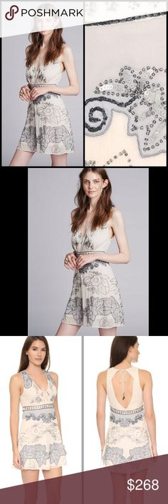 ❌LAST CHANCE MARK⬇️❌FREE PEOPLE embellished dress Floral embellishments detail this airy chiffon Free People dress. Hook-and-eye tabs secure the split neckline, and the open back ties at the neck. Hidden side zip. Lined.226165  Retail: $228 Size: 6 ( small and medium listed for size comparison)   ❤I have over 300 new with tag Free People items for sale! I love to offer bundle discounts!  ❤No trades. love the item but not the price? Submit an offer! Free People Dresses