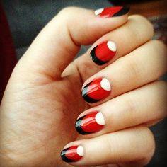 Half Moon Mani - Mac Ruffian Demoiselle remake using OPI Big Apple Red black beige acrylic paint Gel Nail Polish Colors, Red Nail Art, Red Nails, Hair And Nails, Gel Polish, Red Nail Designs, Beautiful Nail Designs, Fancy Nails, Cute Nails