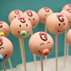 Gender Reveal Cake Pops | 24 Baby Face Cake Pops - for baby shower, gender reveal party favor ...