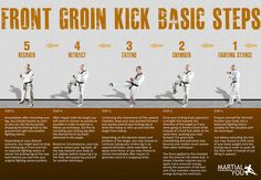 Basic steps to perform a taekwondo style front groin kick. Poster size available…