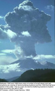 Mount St Helens..remember this day well driving up from Portland not knowing Helens had erupted...pulled off I-5 to watch. They closed I-5 and had to route all the traffic via 101 along part of the coast......a very, very long drive home to Seattle !