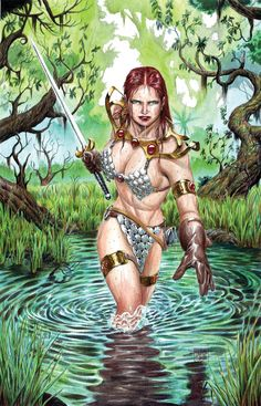 Red Sonja in the Water - Gouache by edtadeo on deviantART
