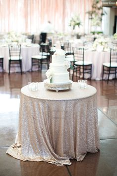 #cake-table, #tablecloth, #sequins  Photography: Heather Roth Fine Art Photography - www.heatherrothphotography.com  Read More: http://www.stylemepretty.com/2014/12/03/elegant-garden-inspired-wedding-in-st-louis/