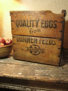 Wonderful Old Advertising `Dannen Feeds' Egg Crate Box – Primitive Appeal  $80