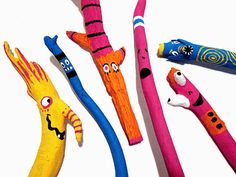 "Painted Stick Creatures from the Very cool blog  - ""Chicken Nugget Lemon Tooty"""
