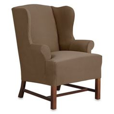 Sure Fit® Designer Suede Wing Chair Slipcover - BedBathandBeyond.com