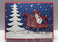 Santa's Sleigh Thinlits, Silver Foil, Red & Dazzling Diamonds Glimmer Paper, Vellum, Swirly Scribbles Thinlits (by Sherry Wayt on FB)