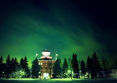 Administration Building at night, University of Manitoba, Winnipeg, MB - Most Beautiful University Campuses In Canada University Of Manitoba, Student Travel, Newfoundland And Labrador, Quebec City, Banff, Canada Travel, Aurora Borealis, Holiday Travel, Northern Lights