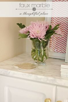 """DIY - Faux Marble Countertop using Design Your Walls """"Marble Marmi Grey Self-Adhesive Stone Wall Contact Covering"""""""