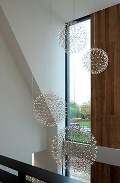 Luxury villa in a modern country style. Interior Lighting, Home Lighting, Chandelier Lighting, Lighting Design, High Ceiling Lighting, Ceiling Lamp, Modern Country Style, European House, Modern Staircase