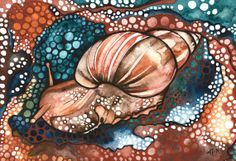 Earth Pigment Snail 8.5 x 11 print of artwork by DeepColouredWater, $40.00