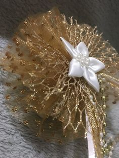 Items similar to Handmade Gold Hair Clip, Tail Streamers on Etsy Gold Hair Bow, Gold Hair Clips, Handmade Hair Bows, Gold Polka Dots, Satin Flowers, Streamers, Gold Beads, Heavenly, Iridescent
