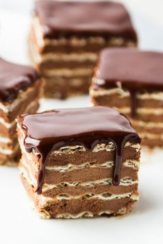 Matzo is dipped in coffee before getting layered with chocolate ganache, then topped with more chocolate for an icebox-style Passover dessert.