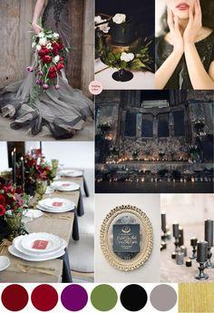 Dark & Moody Wedding Palette {Rich Reds, Plum, Black & Gold}