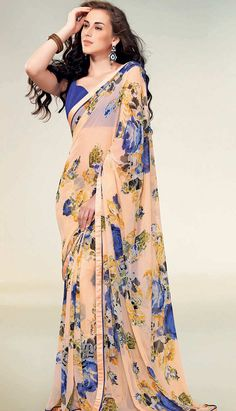 Get Latest Fashionable Beautiful Indian Peach Georgette #PrintedSaree Online  #Price INR- 1858 Link- http://alturl.com/unno7