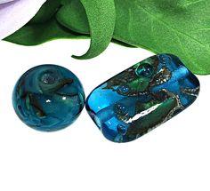 Blue Round Rectangle Handmade Lampwork Glass Beads From Murano Glass 2 Pcs #HandmadeLampworkBeads #Lampwork