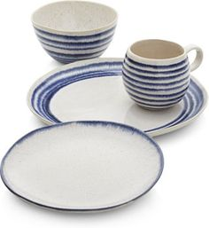 Lina Stripe Dinnerware collections | Crate and Barrel
