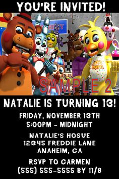 5 Nights Freddy Birthday Invitation- Click on the image twice to place orders or follow me on facebook. or email me at the address in BIO.