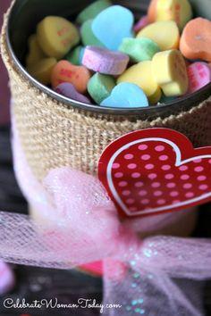 Easy DIY Valentines Day #Candy Jar #Craft #ValentinesDay