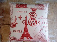 Red Paris Pillow Eiffel Tower French Country by parismarketplace, $20.00