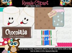 S'mores Set 1 Clipart Digital Zip Download by MaddieZee on Etsy
