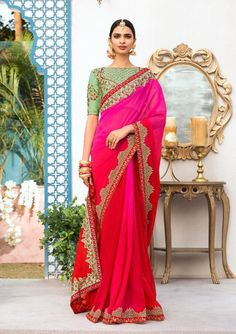 Red and rani pink saree with blouse. Work - Embroidered patch border on saree with embroidery and stones on blouse. Paired with the matching blouse piece.Please Note: The shades may vary slightl Designer Sarees Collection, Saree Collection, Party Wear Sarees Online, Saree Wearing, Saree Trends, Glamorous Dresses, Stylish Sarees, Red Ombre, Indian Outfits