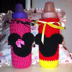 Items similar to Minnie or Mickey Mouse Baby Bottle Cover Cozy Baby Shower Gift- Made to Order - Crocheted on Etsy Crochet Bee, Crochet Cozy, Crochet Baby Hats, Crochet For Kids, Crochet Crafts, Baby Knitting, Crochet Projects, Crochet Stitch, Free Crochet
