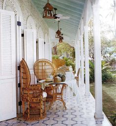 Celerie Kemble's terrace in the Dominican Republic via vogue.com via theartoftheroom.com