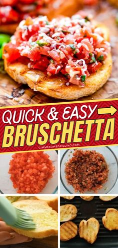 Don't know what to do with your fresh tomatoes? Here's a bruschetta idea perfect for your Memorial Day dinner. Liven up your menu with a burst of freshness from this party food. Make this easy appetizer on the 4th of July as well! Quick And Easy Appetizers, Easy Appetizer Recipes, Yummy Appetizers, Yummy Snacks, Snack Recipes, Grilling Recipes, Cooking Recipes, Grilled Food, Chips And Salsa