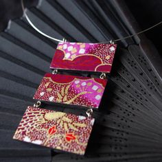 """Japanese inspiration """"Emi"""" - wooden purple-gold necklace with Japanese paper Chiyogami"""